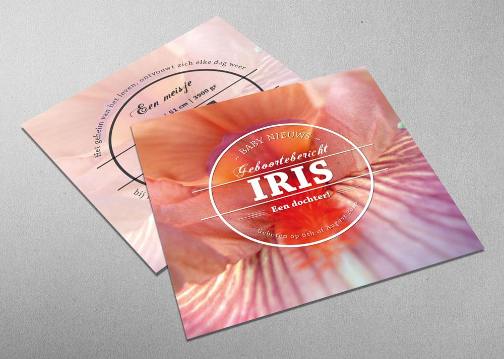 Iris - geboortekaartje - meisje - stoer - bloem - roze - logo - vintage