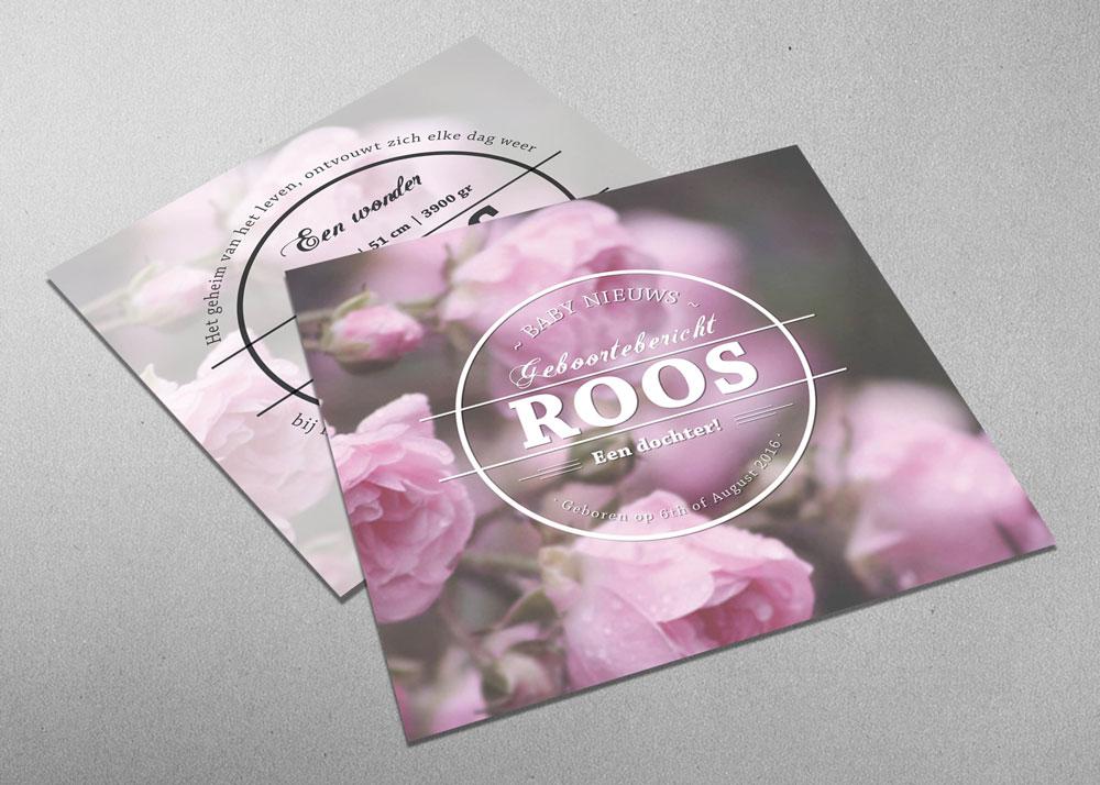 Roos - rozen - romantisch - roze - vintage - geboortekaartje - meisje - logo