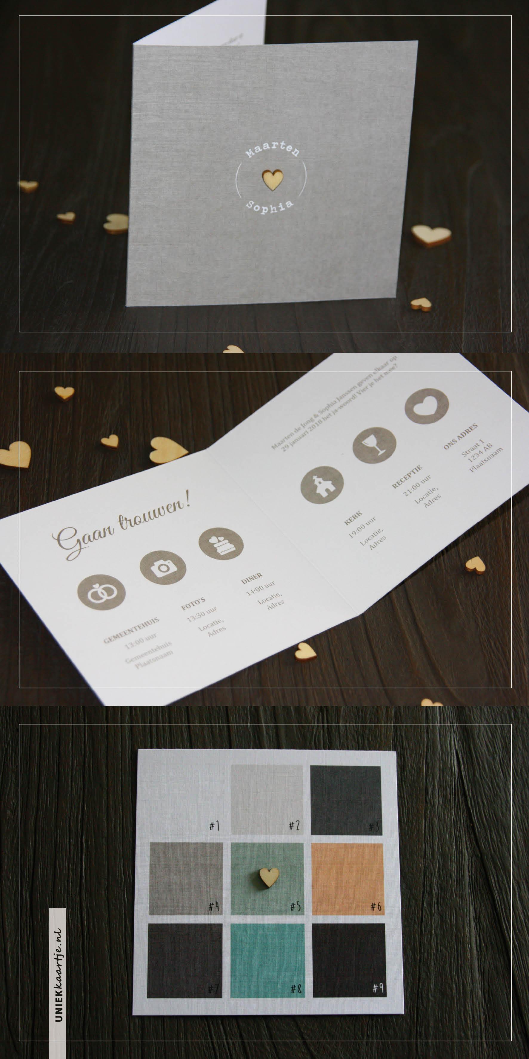 Trouwkaart met hartje van hout - linnen - kleuk - strak - modern - stoer - liefde