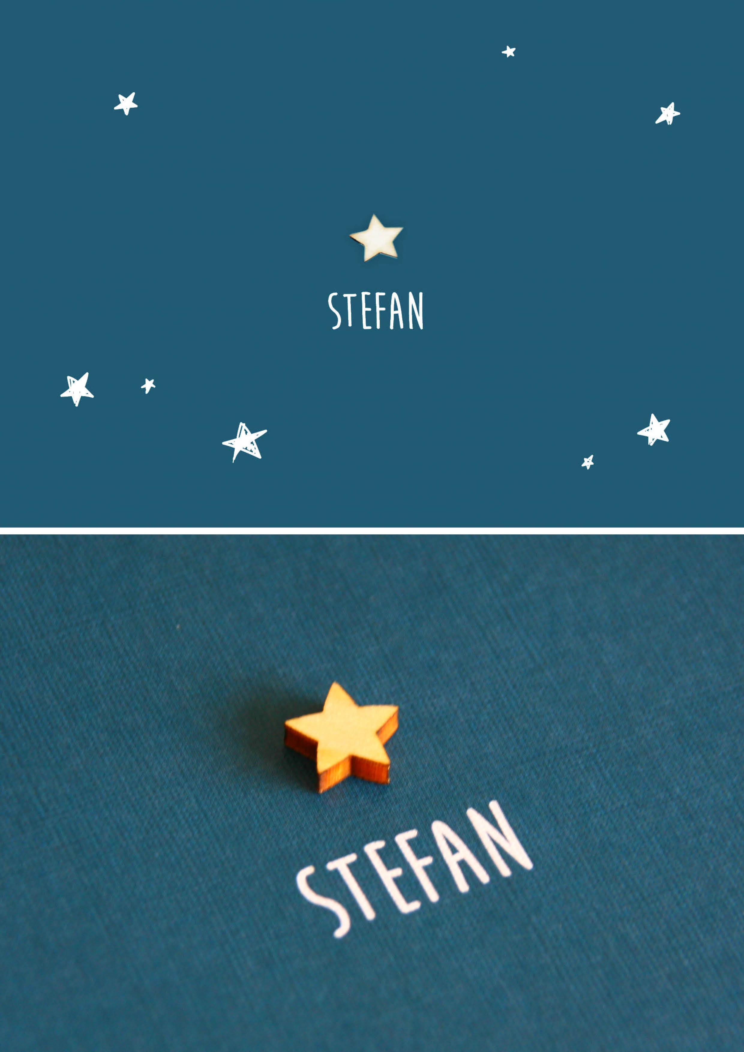 Stefan geboortekaart jongen met houten ster blauw