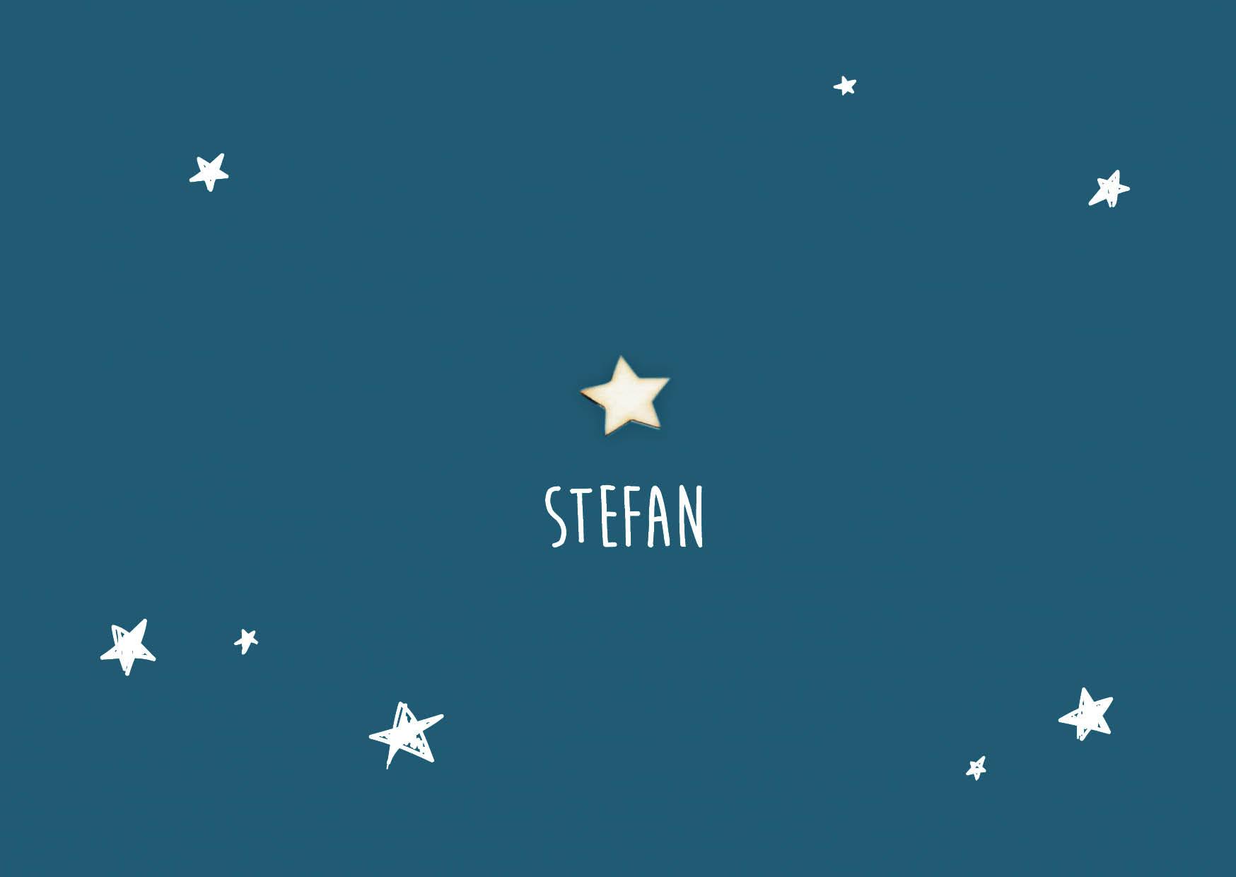 Stefan - houten ster geboortekaart jongen sterretjes blauw