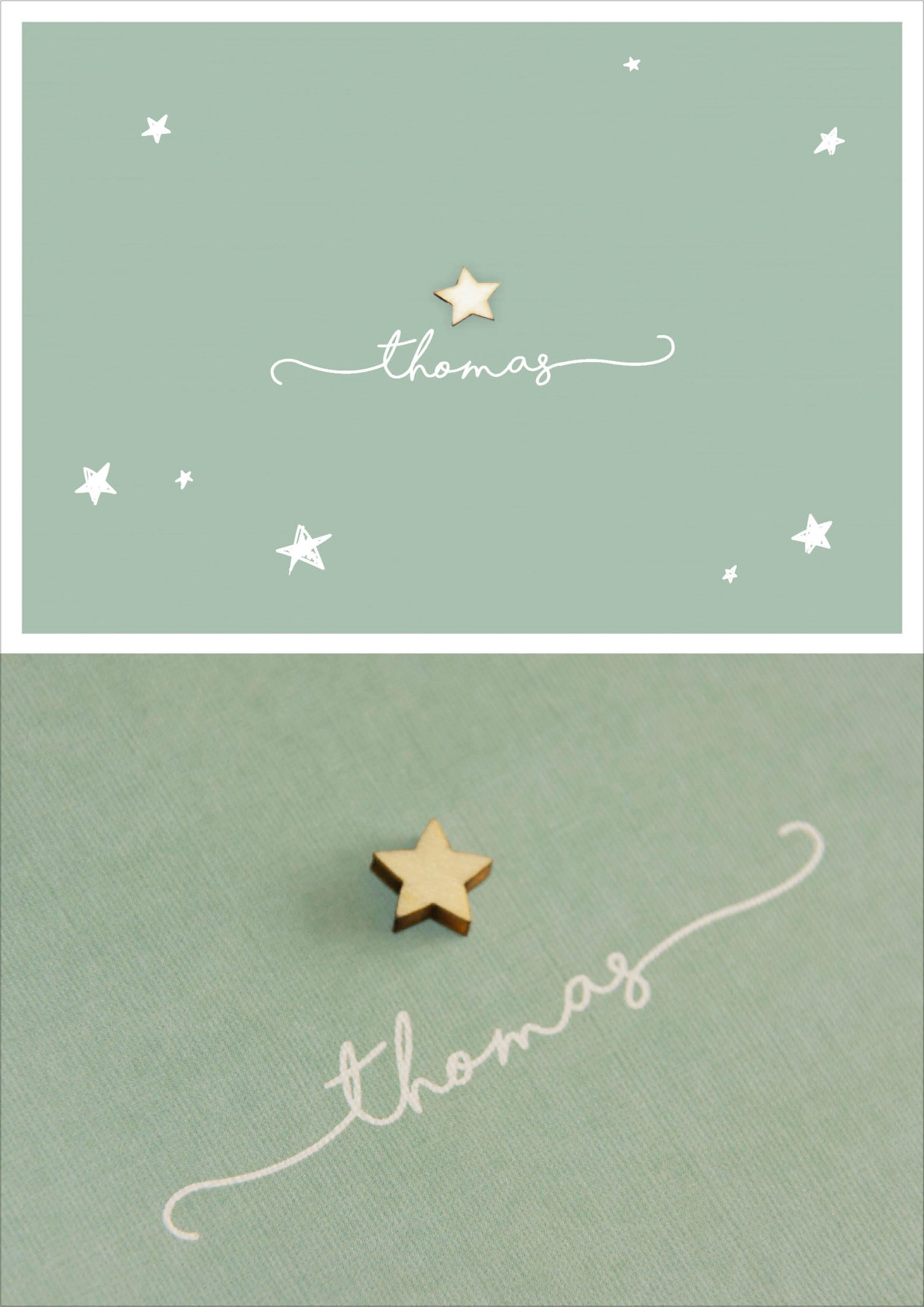 Rustiek - houten ster - jongen - geboortekaartje - oud groen - sterretjes