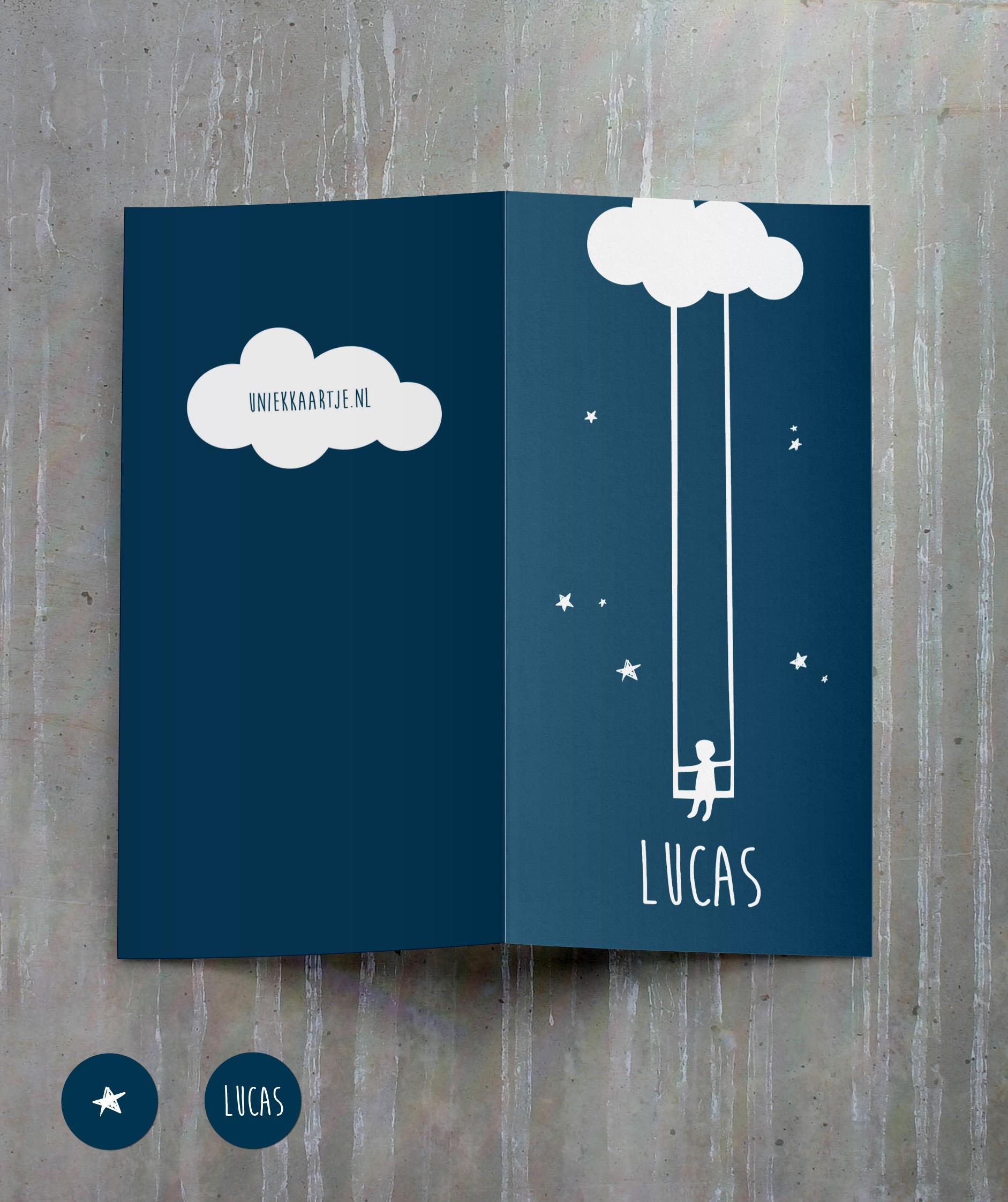 Lucas - wolk - sterretjes - jongen - geboortekaartje - origineel - uniek - maan - moon - star
