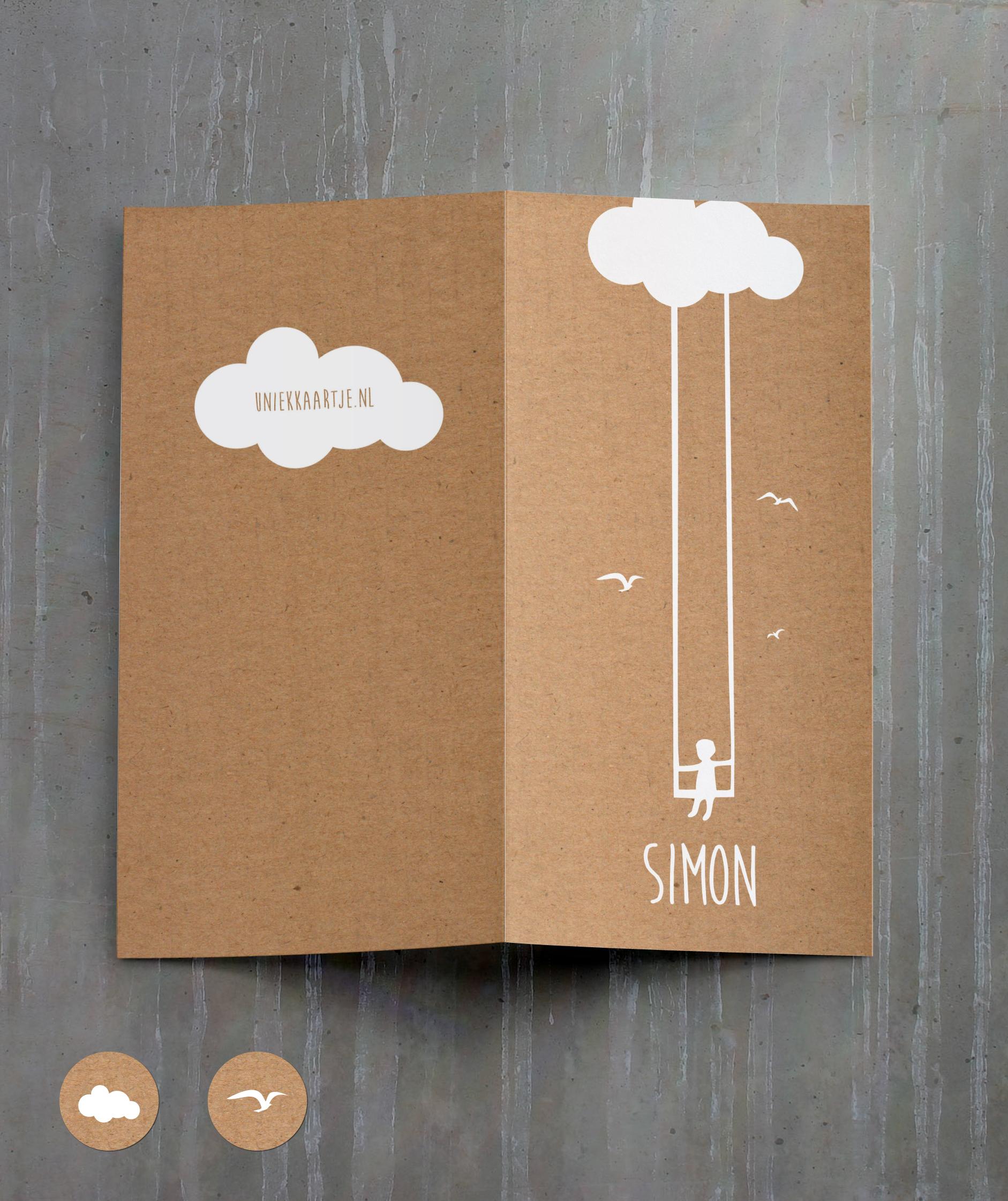Simon - kraft - schommel - wolk - jongen - geboortekaartje - karton - recycle - vogeltjes