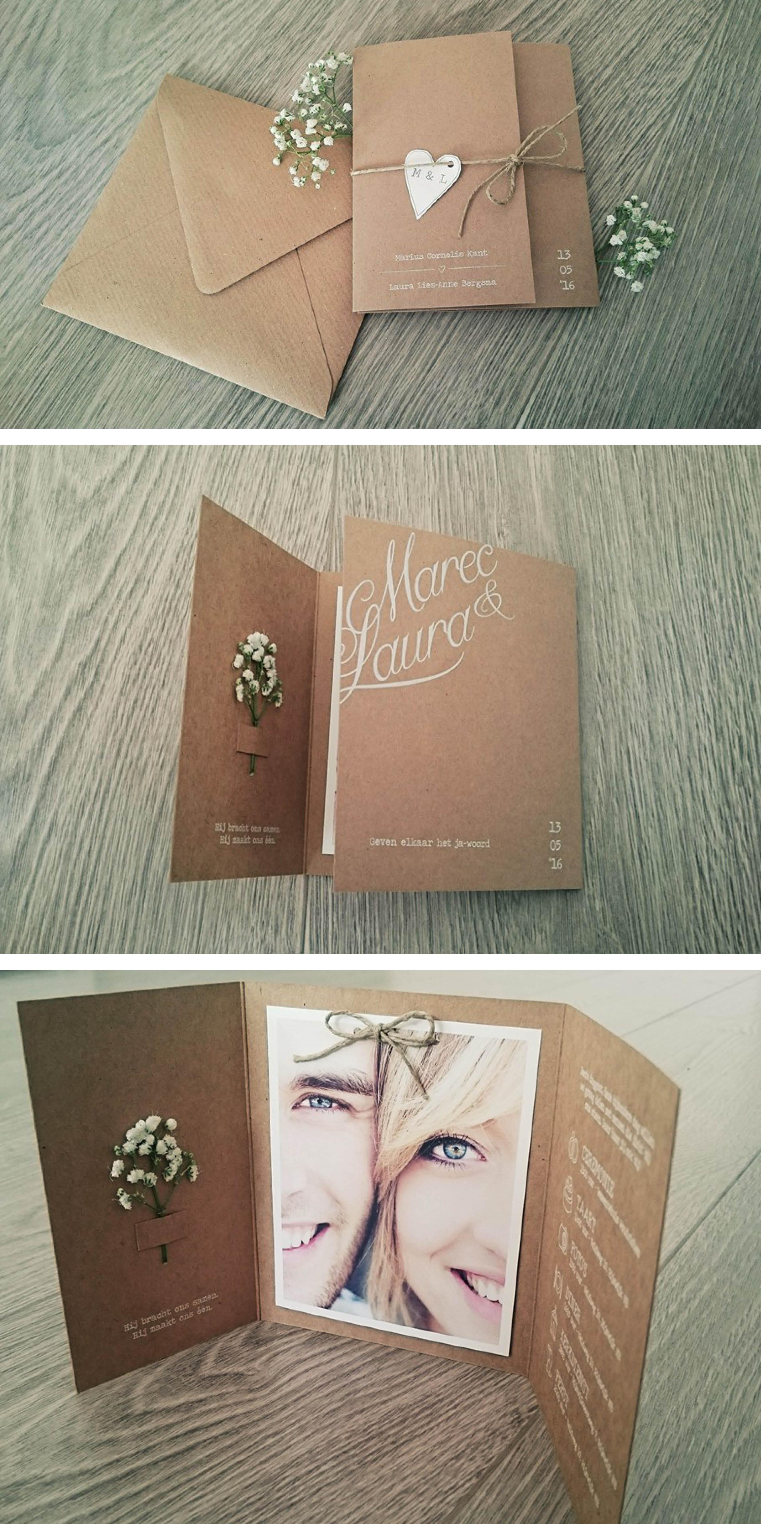 Trouwkaart | vintage | rustiek | hartje | gipskruid | landelijke bruiloft | stro touw | kraft karton | foto | uniekkaartje.nl