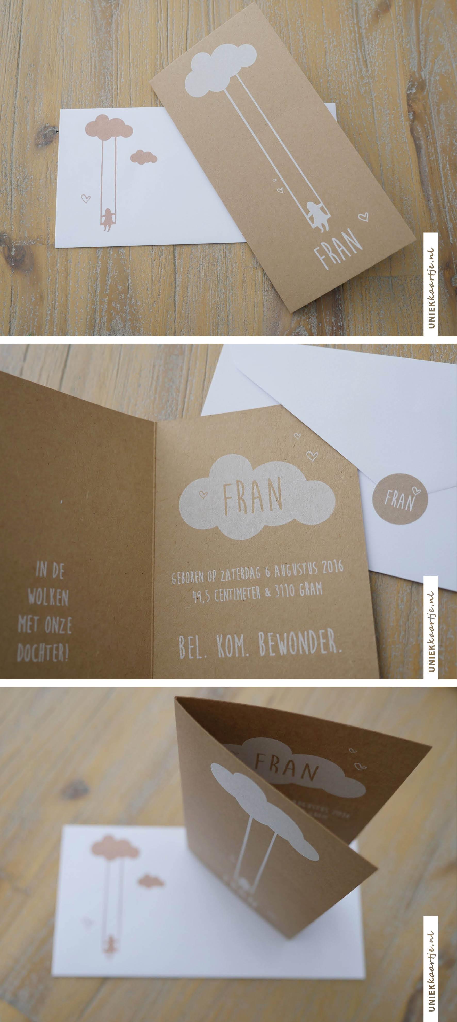 Rustiek geboortekaartje met een meisje dat schommelt aan een wolk, met witte inkt op echt kraft karton!