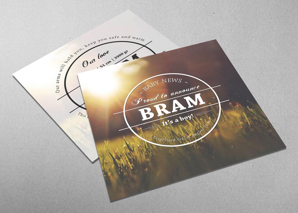 Bram - natuur - vintage - bijzonder - origineel - - geboortekaartje - jongen - logo
