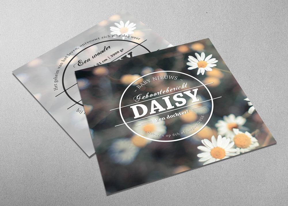 Daisy - bloemetjes - margriet - vintage - geboortekaartje - meisje - logo