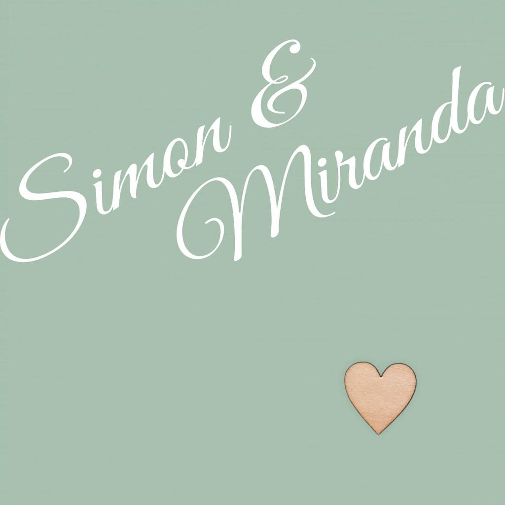 Trouwkaart - strak - modern - sierlijk - romantisch - liefde - echt houten hart - kleur - linnen