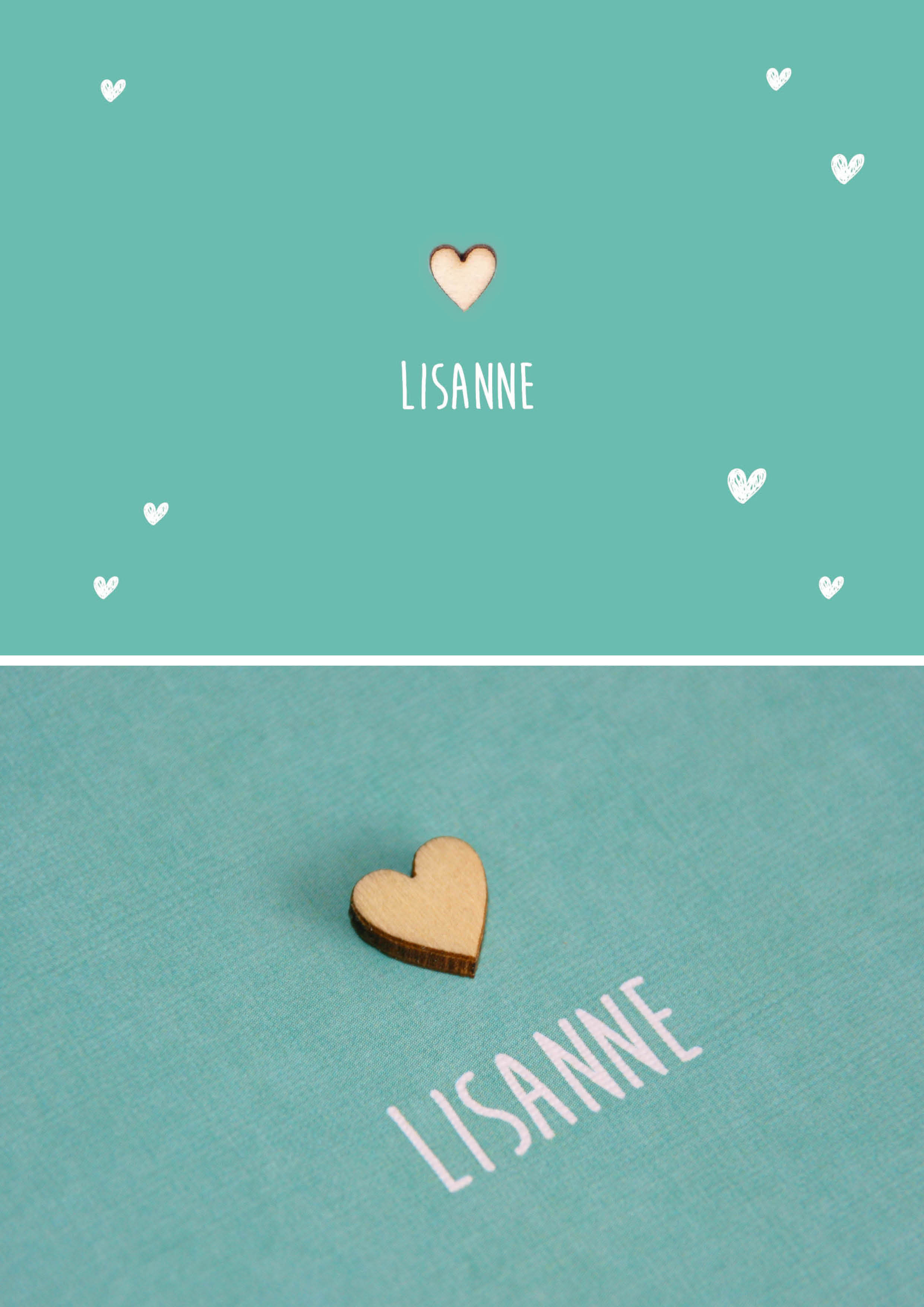 Lisanne - houten hartje geboortekaartje meisje zeegroen doodle hartjes