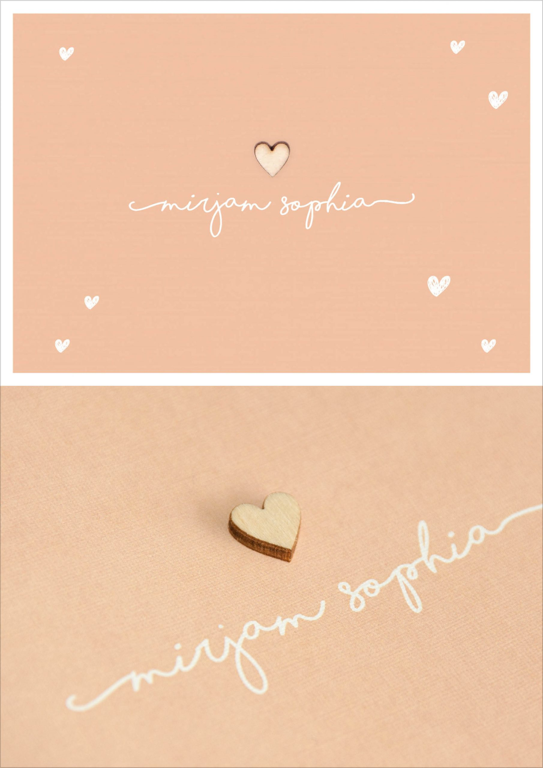 Mirjam - geboortekaartje meisje met houten hartje met doodle hartjes, zacht roze