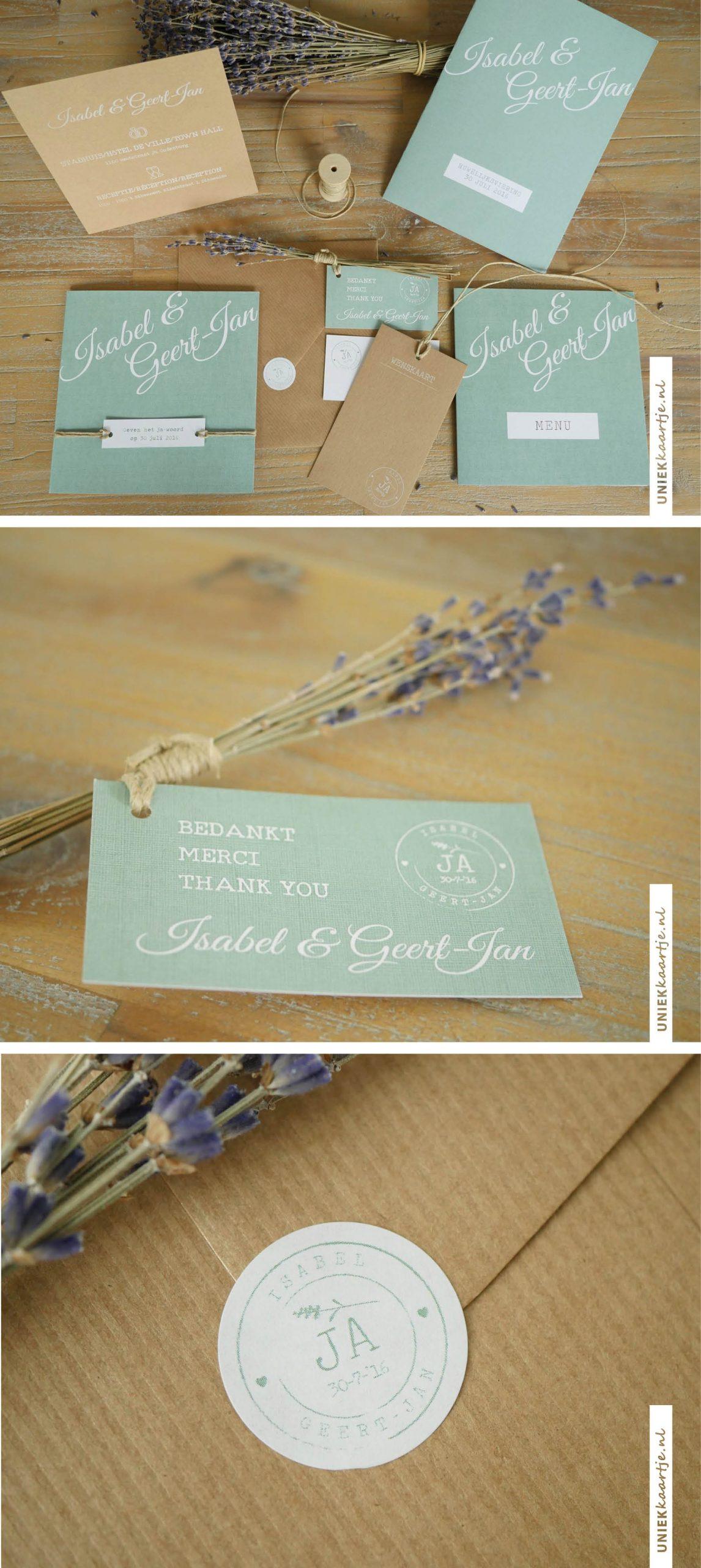 Wat een sfeervol #drukwerk mocht ik ontwerpen voor de #bruiloft van Isabel en Geert-Jan. Een mooie match tussen #kraft en #oudgroen #linnen. Het thema van hun bruioft: #lavendel